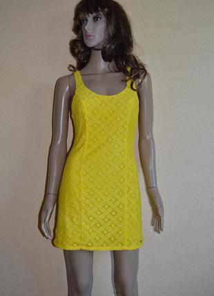 Платье,сарафан кружевное,яркое,солнечно-желтое.hollister