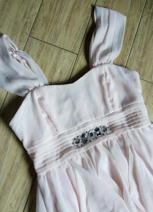 Красивое платье нарядное вечернее на выпускной розовое белое пудрового пудра длинное миди
