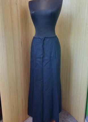 Длинная чёрная льняная юбка колокол с кулиской
