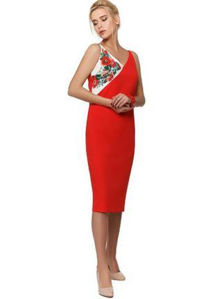 Классическое красное платье вышиванка nenka