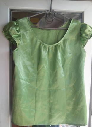 Женская атласная нарядная блуза демисезон лето весна с рукавом