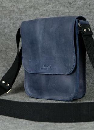 6002ce1a77ba Кожа. ручная работа. кожаная синяя мужская сумка через плечо. барсетка