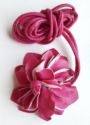 Пояс цветок, ремень, на завязках розовый