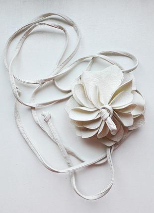 Пояс цветок, ремень, на завязках белый