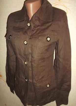 Льняной летний пиджак классика, карманы, разрезики внизу р. xs - orsay