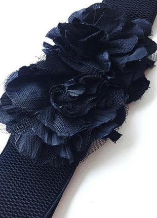 Пояс, ремень резинка, цветы, чёрный