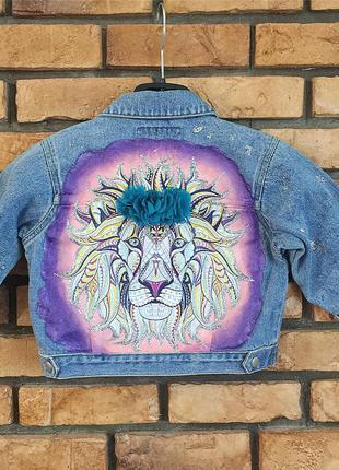 Крутая детская джинсовая курточка,пиджак с ручной росписью