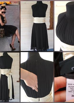 Фирменное, базовое, шёлковое, маленькое чёрное платье миди