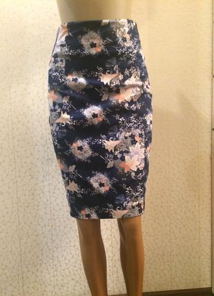 Стильная модная юбка карандаш в цветы с высокой посадкой натуральная ткань очень крутая