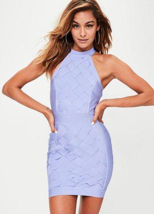 Бандажное голубое мини платье