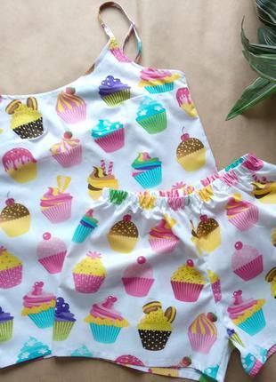 """Хлопковая пижама, майка и шорты с принтом """"кексы"""", комплект для сна"""