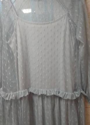 Серое платье с фатином