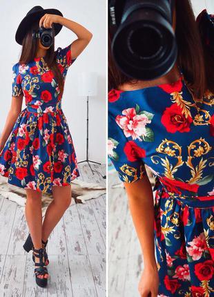Супер платье с принтом рози