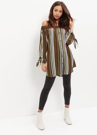 Новая удлиненная блузка с открытыми плечами cameo rose из каталога  new look