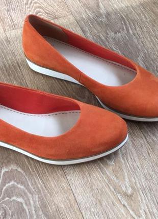 Clarks оригинал, кожаные (кожа,замш) оранжевые балетки