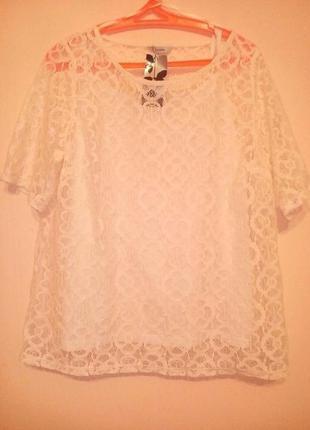 Нарядная  кружевная белая блуза.