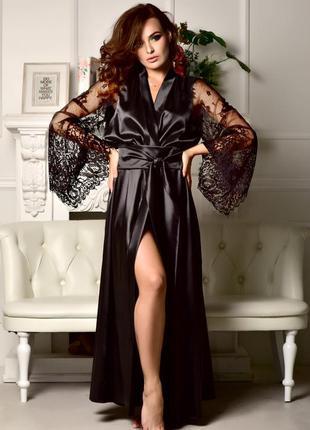 Шикарный чёрный длинный халат. размеры от xs до xl