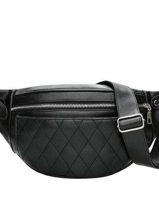 Поясная сумка бананка zip кожаная черный