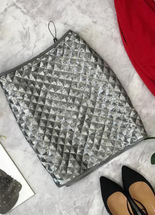 Шикарная юбка расшитая паетками с имитацией объемного принта  ki1822069  next