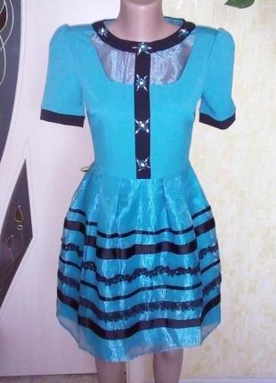 Турция!бирюзовое платье с камнями кружевом и органзой/выпускное платье/ платье/сарафан