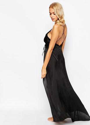 Новое макси платье сатин р.xxs asos 32-34 наш 38-40 длинное черное