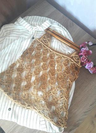 Трендовая сумка сетка плетенная авоська