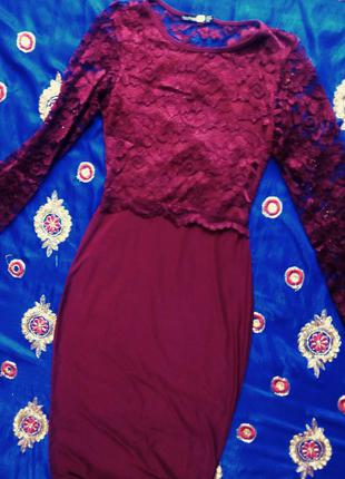Кружевное платье бордо,марсала