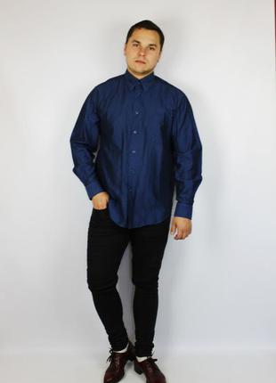 Kenzo дизайнерская мужская темно синяя рубашка с металлическим отливом