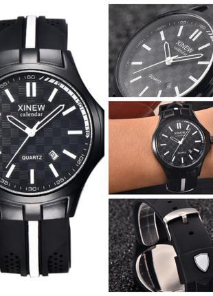 Мужские спортивные аналоговые часы на каучуковом ремешке
