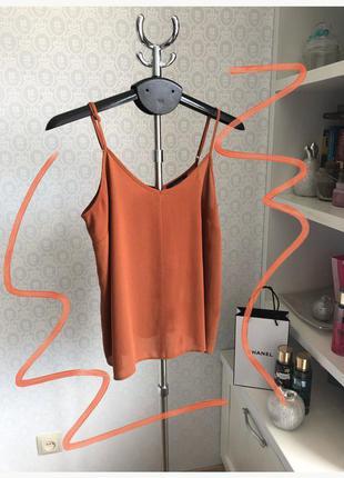 Шифоновая блузка майка кирпичного цвета