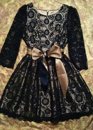 Вечернее синее кружевное платье