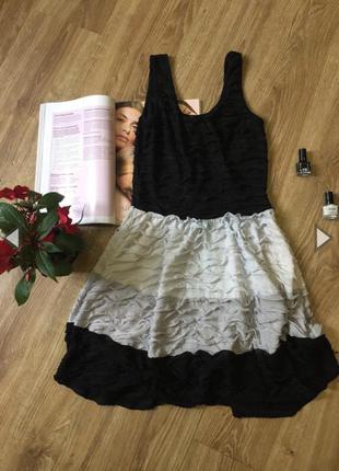 Чёрно-белое короткое платье  полная распродажа -50% 🔥
