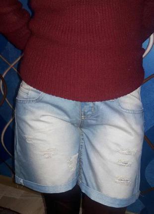 Джинсовые шорты рванки coollady, турция, р.28 маломерит на 26