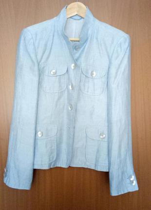 Роскошный летний голубой пиджак, р. 46