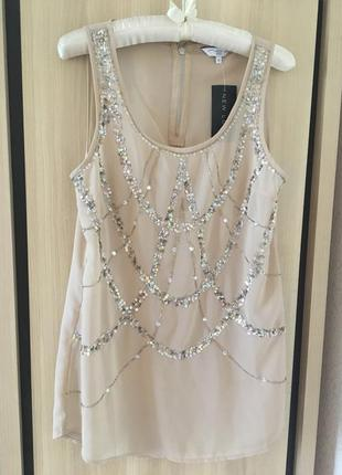 Нарядная телесная блуза с паетками