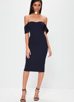 Синее нарядное миди платье
