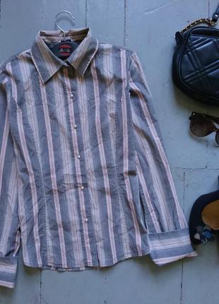 Актуальная приталенная рубашка в полоску жемчужные пуговицы под запонки №51