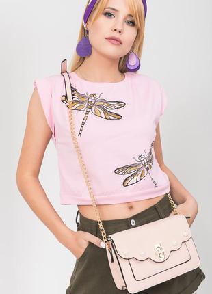 Красивая модная укороченная,розовая футболка без рукавов,на поясе gusse,one size,на s/m/l