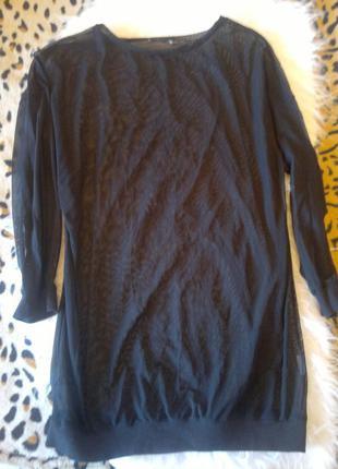 Черная длинная туника платье сетка прозрачная батал большой размер манжеты резинки