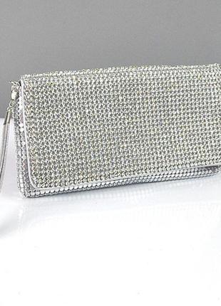 Серебристая вечерня выпускная сумка-клатч из камней через плечо