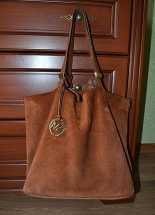 Кожаная двухсторонняя сумка-шоппер michael kors (оригинал).