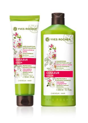 Набор для волос защита и блеск для окрашенных волос шампунь и бальзам ив роше yves rocher