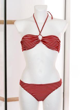Раздельный купальник бикини красный в полосочку admas aznar innova s.a., испания