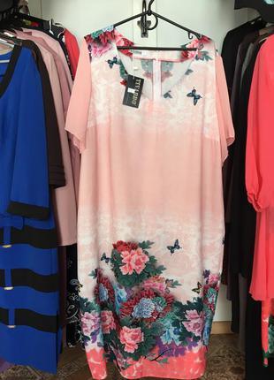 Шифоновое летнее платье большого размера 58