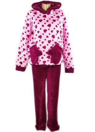 Теплая пижама женская варежка. махровая женская пижама. женский домашний костюм