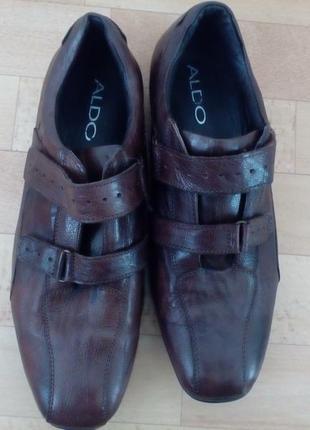 Мужские,кожаные туфли aldo на липучках.