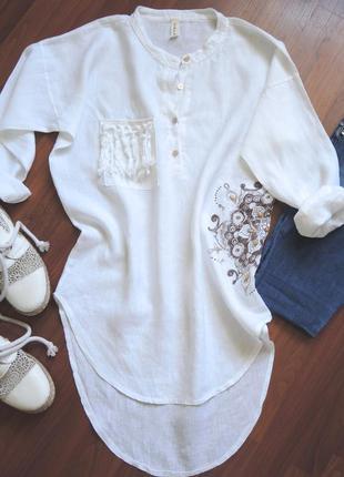 Льняная рубашка с принтом из италии