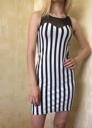 Платье в полоску с сеткой divided h&m