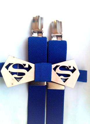 """Галстук- бабочка деревянная """"superman"""". в стиле супермен."""
