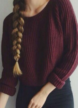 Шикарный свитер свободного кроя, крупная вязка цвета марсала бордо